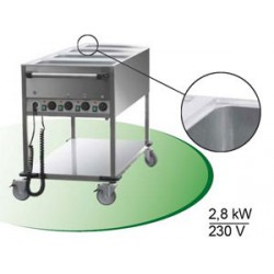 CHARIOT BAIN-MARIE 4GN1/1 4T° RM + 1S/T CDE P.COTE